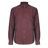 Mens Modal Burgundy Regular Fit Soft Touch Long Sleeve Shirt New Ex M&S Sz M-XL
