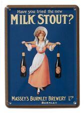 BURNLEY MILK STOUT Small Vintage Metal Tin Pub Sign