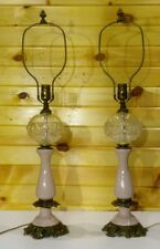 Vintage Paul Hanson Lamps Matching Pair Crystal/Glass Pink Ceramic/Porcelain