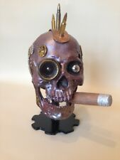 Steampunk resin skull with cigar, real bullets and gears