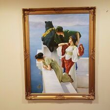 A Coign of Vantage 1895 - Lawrence Alma Tadema Oil painting reproduction Framed