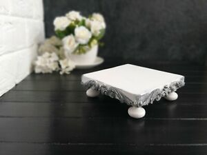 "White Cake Stand Riser Cupcake Square Wood Pedestal  Handmade 5.5"" x 5.5"""