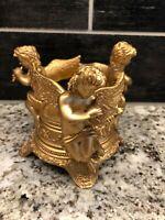 VTG Cherubs angels taper candle holder Gold Gilt Hollywood Regency Harp Flute