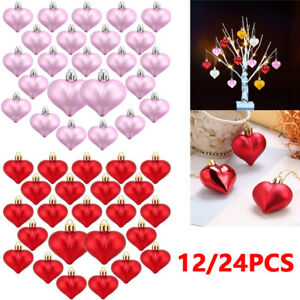 24Pcs Heart Shaped Baubles Valentine's Day Ornament Hanging DIY Decoration