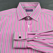 RALPH LAUREN PURPLE LABEL Colorful Striped Cotton FRENCH CUFF Dress Shirt - 17