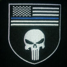 PUNISHER SKULL USA FLAG POLICE BLUE LINE EMROIDERED IRON ON PATCH BY MILTACUSA