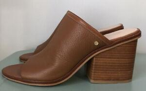 MIMCO Brown Textured Leather Block Heel Mules Size EU 41 AU/US 10 EUC
