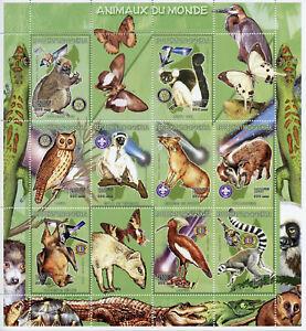 Madagascar 1999 MNH Lemurs Owls Butterflies Bats 9v M/S Birds Animals Stamps