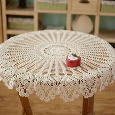 Round Beige Hand Crochet Tablecloth Lace Cotton Vintage Doily Floral 35.4inch