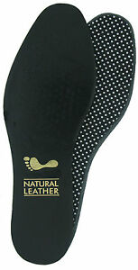 Shoe & Boot Insoles - Black leather upper full length Sizes UK 3-13