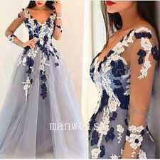 Gray Wedding Gowns Bridal Formal Dresses V-Neck Appliques Size 4 6 8 12 16 Plus