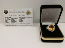 Large Citrine Ring surrounded by 34 White Sapphires set in Sterling Silver