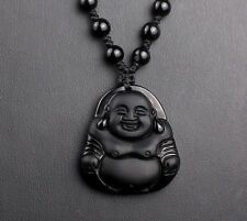 Natural Obsidian Hand Carved Buddha Lucky Amulet Pendant Chain Beads Necklace