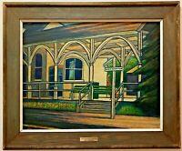 "Larry Edwardson (Listed Artist) ""The Station East Hampton"" (NY) Oil on Masonite"
