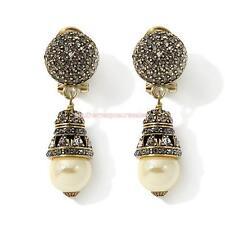 """Heidi Daus """"Premiere Attraction"""" Beaded Crystal Drop Pierced Earrings Pearl"""