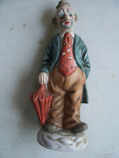 "Vintage Ceramic Clown Figurine 7.5"" Tall 2 3/4"" Bottom Good Condition"