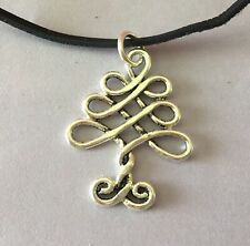 CELTIC STYLE **  KNOTWORK CHRISTMAS TREE PENDANT** +LEATHER CORD **GORGEOUS**