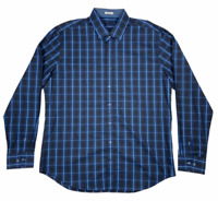 Bugatchi Uomo Mens Long Sleeve Button Down Shaped Checked Shirt Blue Size XXL