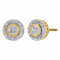 10K Yellow Gold Round Cut Diamond Circle Outline Studs 8mm Pave Earrings 0.15 Ct