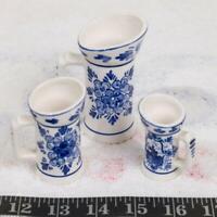 Vintage Set of 3 Miniature Pitchers Hand Painted Delfts Blue jp