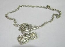 Great silver tone metal chain choker style necklace white stone hearts 36 cms