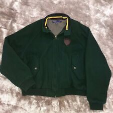 Vintage 1990's POLO Ralph Lauren Crested Forest Green 100% WOOL Varsity Jacket M