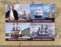 Madagascar 2018 MNH Captain James Cook Endeavour 4v IMPF M/S Boats Ships Stamps