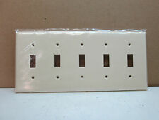 Lot of 10 PEP Five 5-Gang Toggle Switch Wall Plate Wallplate Cover Light Almond