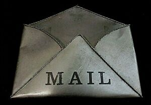 WALL MOUNTED MAIL ORGANIZER - Silver Toned Metal, Open Envelope, Labeled - MAIL