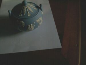 Wedgwood Jasperware Light Blue Lidded Sugar Bowl  10 cms high