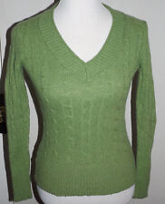 ANN TAYLOR LOFT Green V-Neck Cable Knit Sweater Size S Wool Cotton Rabbit Hair