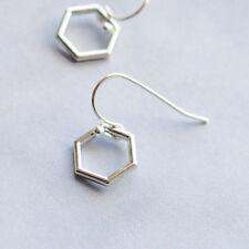 Minimalist Hexagon Earrings - Silver Geometric Earrings - Drop - UK Seller