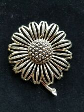 Vintage Signed Sarah Coventry Yellow Gold Toned Flower Designer Pin Brooch 3""