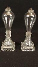 Antique 19C Pr Flint Glass Lemon Squeezer Base Whale Oil Lamps DBL Burners