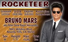 Bruno Mars JUST THE WAY YOU ARE California ROCKETEER ID card Drivers License