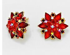 "1.5"" Clip On BIG Red Gold Stud Crystal Wedding Rhinestone Pageant Earrings"