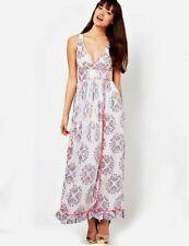 Manoush Maxi Dress UK 8 White Damask Metallic Bohemian Romantic Designer Angelic