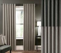 One Pair Of STUDIO G Lined Luxury Woven ZigZag Design Verona Eyelet Curtains