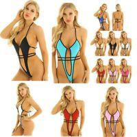 Women Sexy Swimwear Summer Beach Set Thong Mini Bodysuit Halter Neck Nightwear