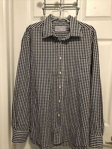 Masons Mens XL Cotton Blk/Wht Long Sleeve Shirt Made In Italy