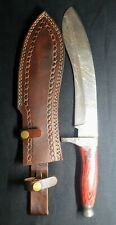 damascus hunting bowie knife red wood handle with sheath