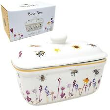 Butter Keeper Holder Dish Floral Busy Bees Fine China Boxed Kitchen Gift