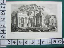 1830 datato antico Yorkshire stampa ~ EGGLESTON Abbey