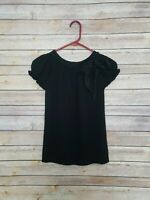 LIFELIKE LINDARICO Italy Black Short Sleeve Ruffle Tie Bkouse Top Stretch Small