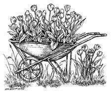 Spring Flowers Tulip Wheelbarrow Wood Mounted Rubber Stamp NORTHWOODS M10400 New