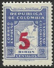 STAMPS-COLOMBIA-PRIVATE CARRIERS. 1934. Expreso Colombiano 5c on 12c. Blue. MNH.