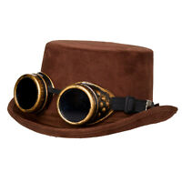 Adult Steampunk Top Hat w/ Goggles Brown Faux Suede Halloween Costume Unisex