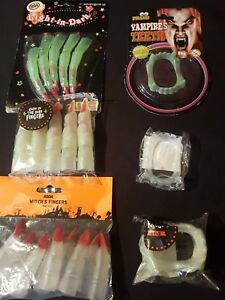 Halloween - Fake Fangs,Vampire Teeth, Witches Fingers, Glow in the Dark
