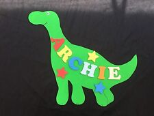 Personalised Wooden Name Plate Children Door or Wall Sign Smiley Dinosaur