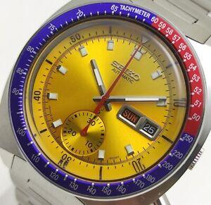 Seiko Pogue Pepsi Automatic Chronograph 6139-6002 Men's Wristwatch Orange Dial